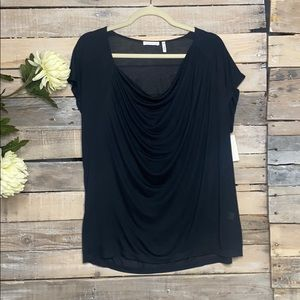 LEITH NWT Drape Neck Cowl Sheer Soft Black Top L